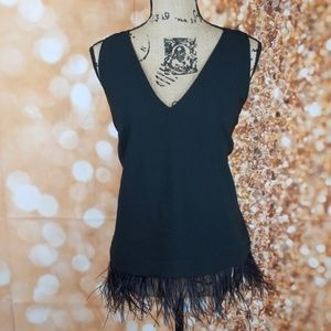 Flowy black Blouse with Ostrich Feathers
